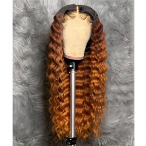 Sistershairstyle 13x6 Pre Plucked Ombre Honey Brown Wavy Virgin Human Hair Lace Wigs With Baby Hair(SHS0227)