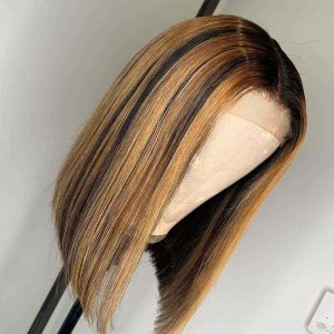 Sisters Hair 13x6 Highlight Wig Ombre Brown Honey Blonde Short Bob Front Wig Transparent HD Full Lace Wig (SHS0322)