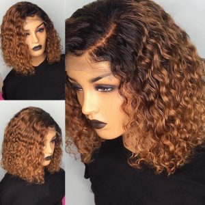 Sisters Hair 427 Ombre Color Short Curly Human Hair Wigs With Baby Hair Pre Plucked(SHS0238)
