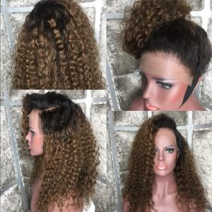 Sistershairstyle Virgin Human Hair Pre Plucked Ombre Color Full Lace Wigs and Lace Front Wigs(SHS0239)